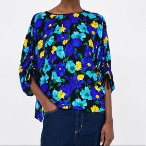 ZARA Floral Printed Blouse With Gathered Details